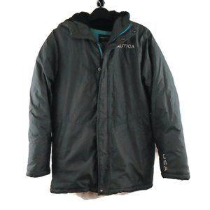 Nautica Hooded Puffer Jacket L Gray Blue Coat